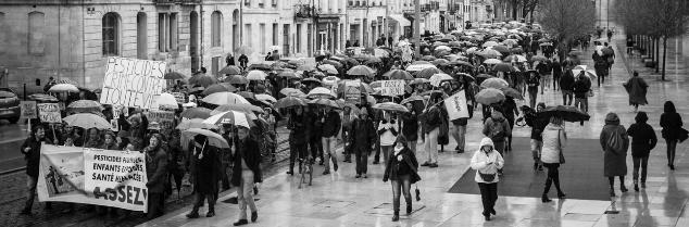 Pancartes et parapluies se sont contoyés lors de cette première manifestation de réaction à l'émission Cash Investigation (diffusée douze jours auparavant).