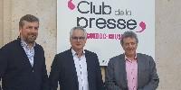 De gauche à droite : Nicolas Richarme, président de la Commission de Millésime Bio, Patrick Guiraud, président de Sud Vin Bio et Jean-Louis Cazaubon, vice-président du Conseil régional d'Occitanie.