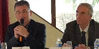 A gauche, Patrice Jacquin, président de la Chambre d'agriculture de Savoie Mont-Blanc, à droite, Michel Quenard, président du syndicat des vins de Savoie