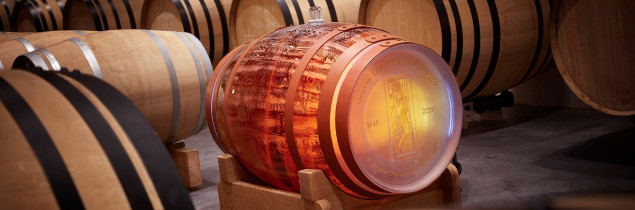 The barrel marks the property's four-hundred-year history with the inscription 1618-2018.