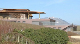 The architect's impression of the new building with its winery and panoramic wine store at Domaine Rolly Gassmann in Alsace