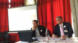 Nicolas Ponzo, director of the Roussillon wine marketing board (left), and Philippe Bourrier, board chairman, at the press conference on 25 March in Paris.