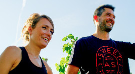 The couple created their estate in 2015 by buying back fallow land, levelling the ground then planting vines supported by stakes in the northern appellations of Rhone valley.