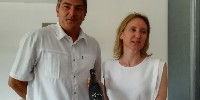Sébastien Durand of Swing it and Mireille Rambier from Domaine Haut-Lirou present the first red wine fermented to music