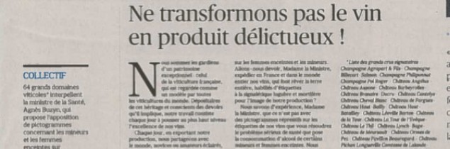 Published last February, a previous open letter on the same theme ('Ms Buzyn, stop demonising wine, it is a part of French civilisation! ') was followed by a response from anti-alcohol advocates ('from the liver's perspective, wine is alcohol!').