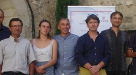 Philippe Pellaton, chairman of the Côtes du Rhône producers' organisation with signatories of the biodiversity agreements.