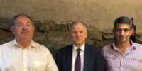 De gauche à droite : Thierry Coste, président du comité vin du Copa/Cogeca, Vytenis Andriukaitis, Commissaire européen à la Santé, Thomas Montagne, président des Vignerons indépendants.