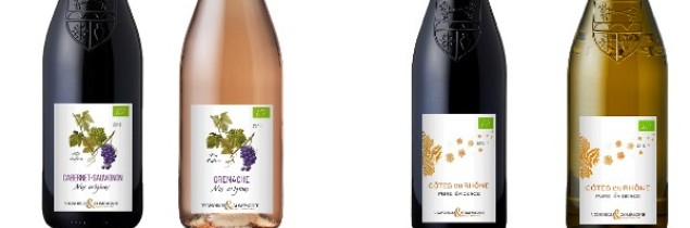 "On the right, the new organic Côtes du Rhône ""Pure evidence"" label; on the left, the Pays d'Oc Grenache and Cabernet Sauvignon varietal wines"