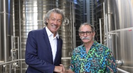 Gérard Bertrand and Jean-Fred Coste, chairman of the Héraclès winery, France's largest organic co-operative based in the Gard area.