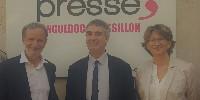 De gauche à droite : Jean-Benoît Calier, président de l'AOC Languedoc , Laurent Roy, directeur général de l'Agence de l'eau Rhône Méditerranée Corse et Catherine Richer, déléguée territoriale Occitanie de l'Inao.