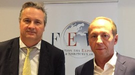"""All French regions will be affected because they all export to the United States,"" warned Antoine Leccia (left), on October 3 alongside Burgundy negociant Louis-Fabrice Latour."