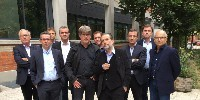 De gauche à droite : Georges Haushalter, vice-président du conseil des vins de FranceAgriMer, Jérôme Despey, président du conseil, Samuel Masse (JA), Gérard Bancillon (VinsIGP), Stéphane Héraud (AGPV), Jérôme Volle (FNSEA), Michel Chapoutier (UmVin), Jean-Marie Fabre (Vignerons indépendants de France), Bernard Farges (Cnaoc) et Jean-Marie Barillère (Cniv)