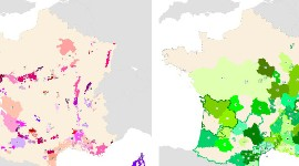 Map of the distribution of PDO (left) and PGI (right) wines in France.
