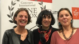 Constance Rérolle, director of wines and spirits at the Adelphe agency, Anne-Marie Estampe, the creator of the international wine in box competition and Elodie Becheras, a lecturer at the University of Toulouse Montauban and deputy director of the Higher Institute of Colour, Image and Design.