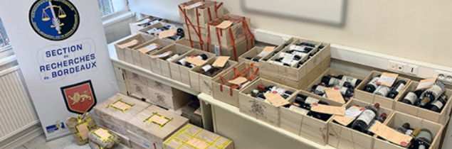 "During their raids, the police and gendarmes found cases from prestigious estates, with bottles ranging in size ""up to the Mathusalem (6 litres)""."